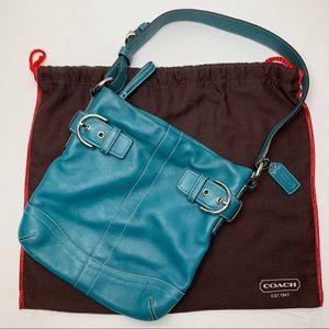 Coach Slim Duffle Hobo #1453 Teal Blue Leather